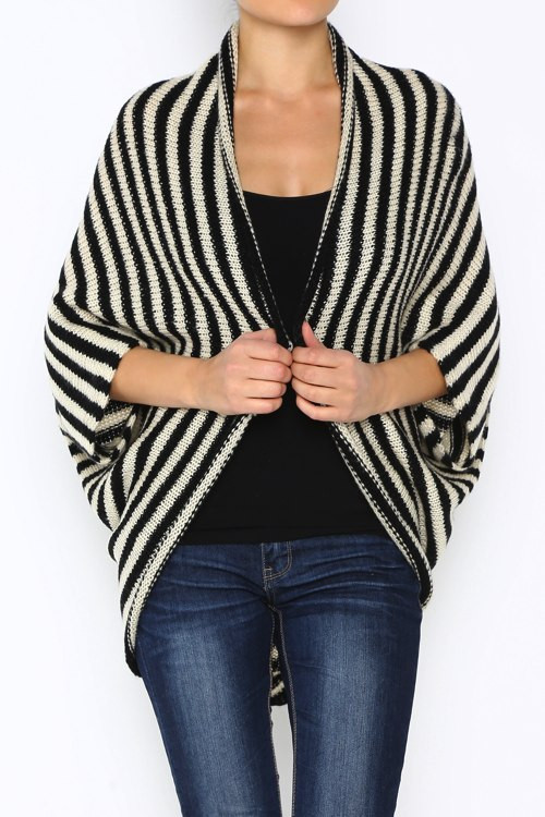 Black striped dolman fit open cardy – betsy boo's boutique