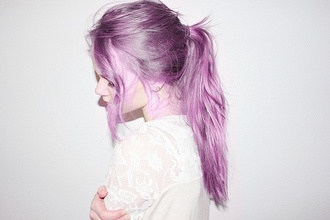 blouse lace top white top pastel hair pastel purple hairstyles ponytail messy hair