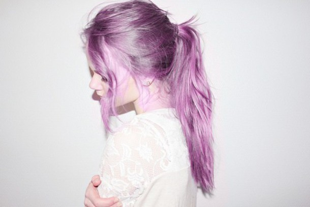 hair accessory blouse lace top white top pastel hair pastel purple hairstyles ponytail messy hair