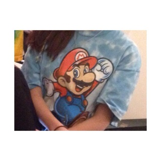 shirt tie dye mario video games t-shirt mario bros