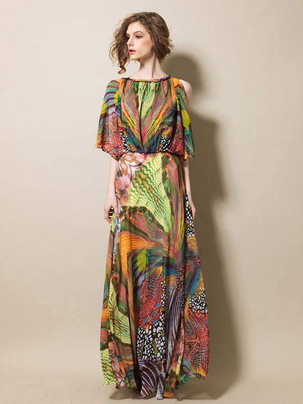 Dress Maxi Dress Floral Skirt Chiffon Summer Dress