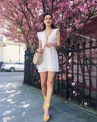shoes sandals yellow dress white dress bag