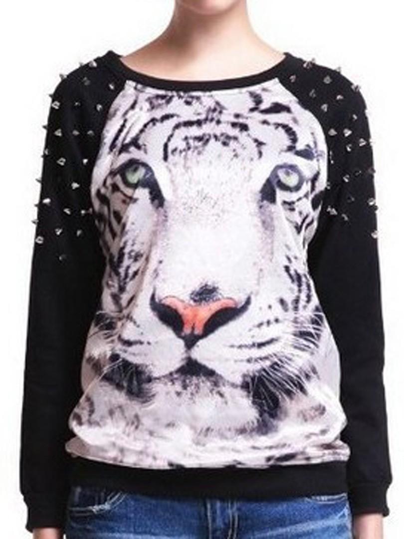 schwarzes tiger druck sweatshirt mit nieten rmeln. Black Bedroom Furniture Sets. Home Design Ideas