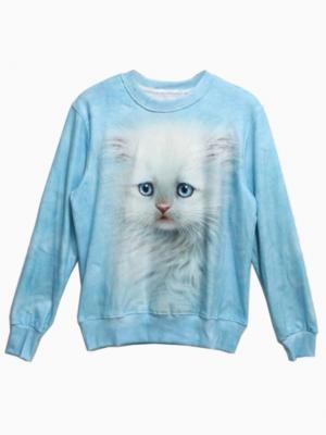 Blue 3D Unisex Sweatshirt With Cute Cat Print | Choies
