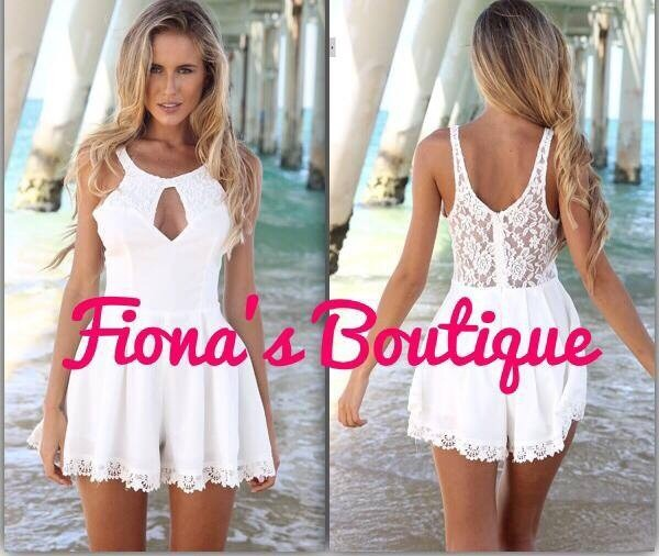 fionasboutique                          - Pre order deluxe lace playsuit coral/white