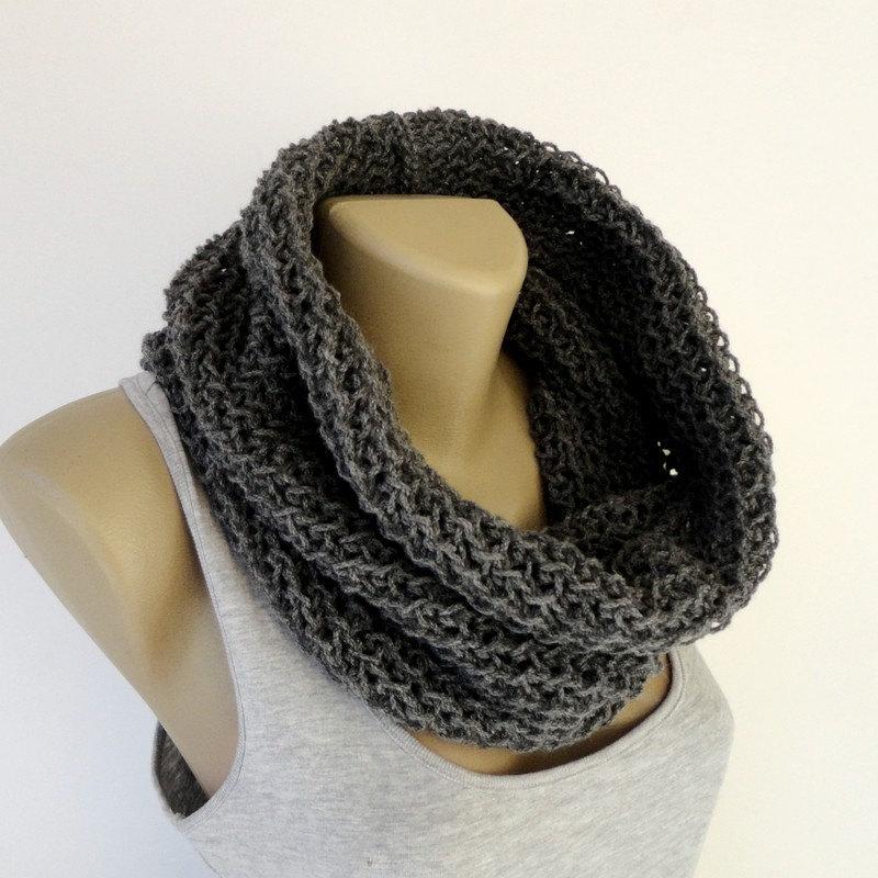 gray men scarf cowl Winter scarf Women infinity scarf Knit Scarf knitted infinity unisex scarf Neckwarmer Wool Acrylic senoAccessory