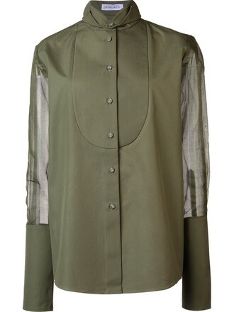 shirt women cotton silk green top