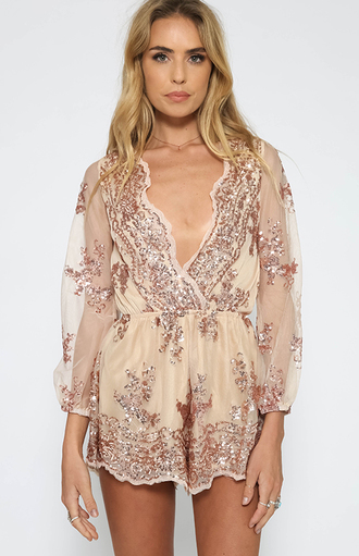 romper jumpsuit gold beige embellished embroidered pails paillette paillettes sheer v neck deep v deep v dress plunge v neck beige playsuit beige romper short shorts lace lace playsuit detailed details on fleek peppermayo xenia princess polly australian brand beaded xeniaboutique possibly australian brand