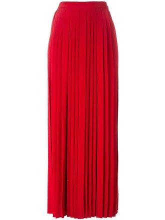 skirt pleated skirt pleated long red
