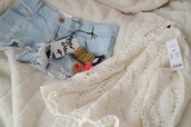 sweater,clothes,brands,cardigan,fashion,white,shorts,short,knitted sweater,High waisted shorts