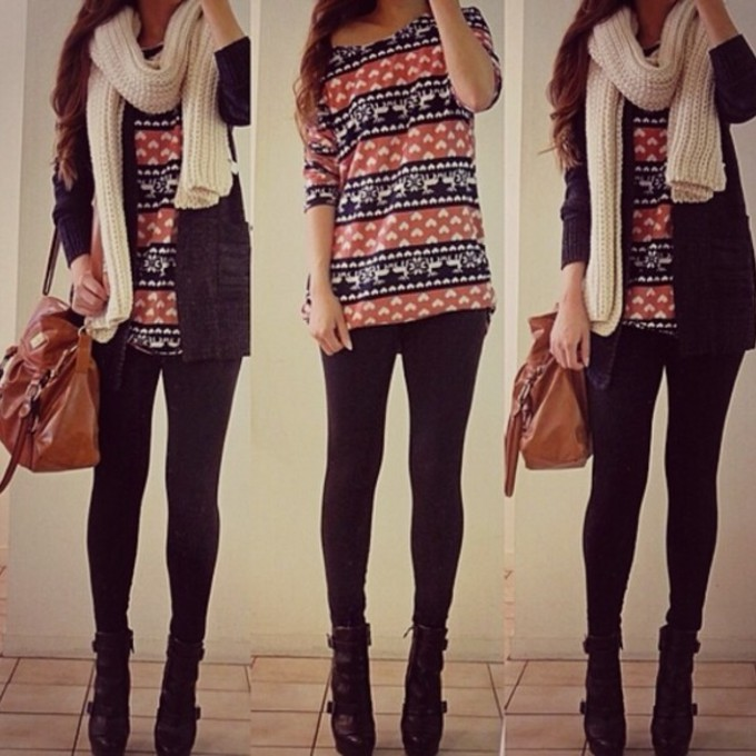 sweater scarf leggings outfit red cute jacket black bag high heels vintage print pullover blue white weheartit scarf red