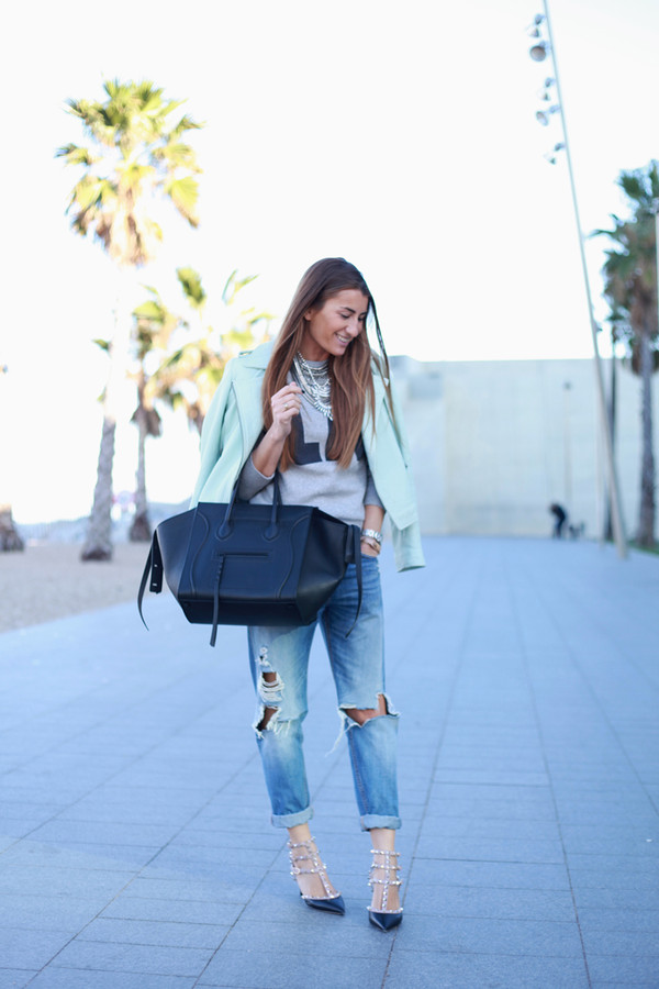 b a r t a b a c jacket sweater jeans bag shoes