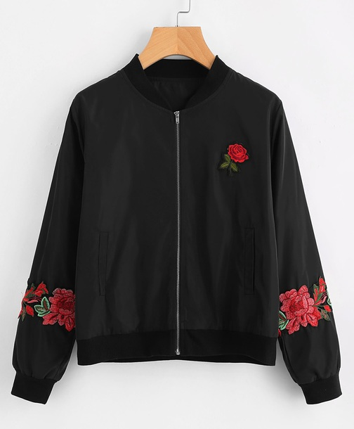jacket embroidered girly black bomber jacket black bomber jacket zip