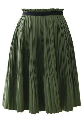 waist skirt pleated contrast trimmed olive