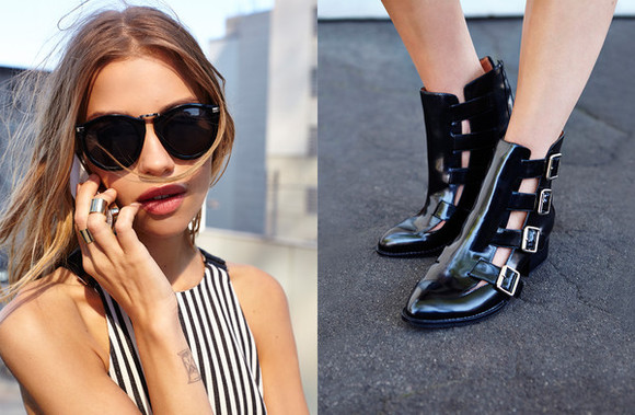 shoes nasty gal nastygal.com lookbook jewels jeffrey campbell nasty gal lookbook boots mathilda berman july lookbook ankle boots stripes sunglasses stacked rings