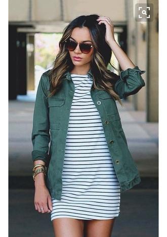 dress stripes jacket green coat striped dress black and white black and white dress black and white glasses tumblr style streetwear streetstyle pocket jacket army green jacket casual dress green jacket