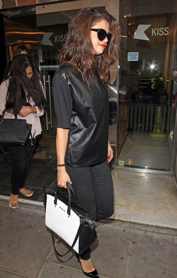 shirt selena gomez leather black
