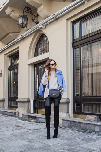 fashion agony blogger jacket sweater leggings sunglasses bag crossbody bag denim jacket grey sweater spring outfits over the knee boots