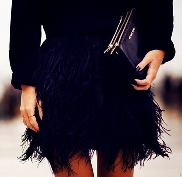 skirt feathers feather skirt fashion all black everything