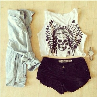top skull summer shorts graphic tee graphic tank top tank top cardigan