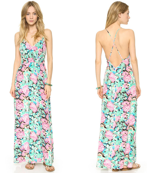 Fashion fresh flower print elastic pleated spaghetti strap back cross haoduoyi one-piece dress   Amazing Shoes UK