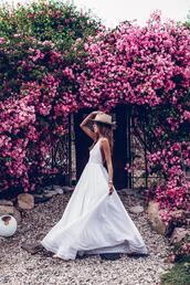 vivaluxury - fashion blog by annabelle fleur: nyfw mini moment,blogger,dress,bag,hat,white maxi dress,maxi dress,summer outfits