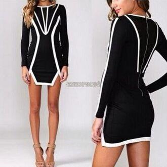 dress black and white geometric mini party dress mini dress interesting party outfits monochrome