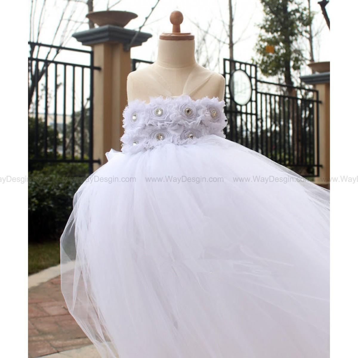 White Flower Girl Tutu Dress baby dress toddler birthday dress wedding tutu dress