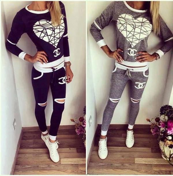 blouse black chanel sweater tracksuit women girl 867f9c27b