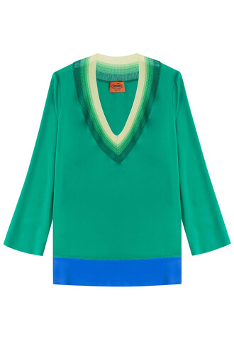 blouse tunic silk green top