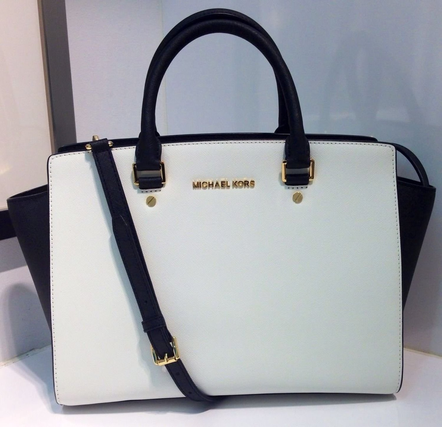 Amazon.com: Michael Kors Selma Large White / Black Top Zip Leather Satchel 30T3MLMS7T NEW: Shoes