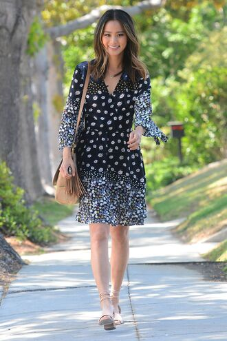 dress floral floral dress jamie chung blogger sandals black and white dress summer dress