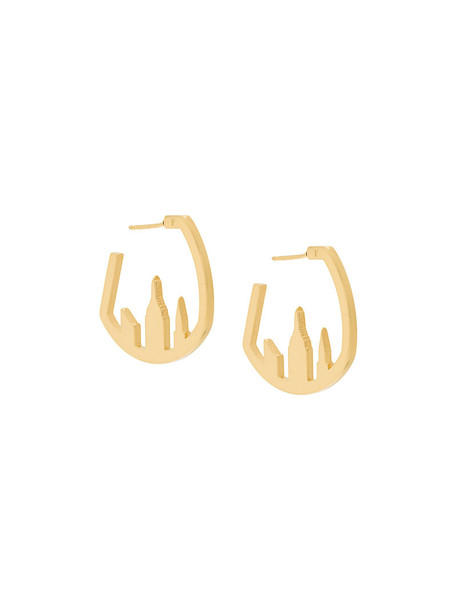 Catalina D'anglade women earrings gold grey metallic jewels
