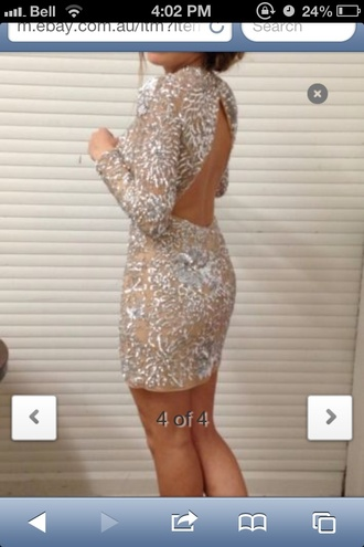 dress lace sparkle sherri hill clothes nude silver glitter cut-out dress