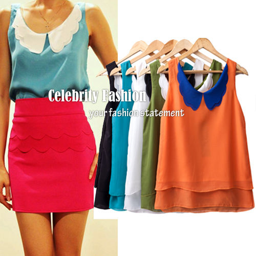 TP44 Celebrity Style Vintage Chiffon Colour Blocking Peter PAN Collar Tank TOP | eBay