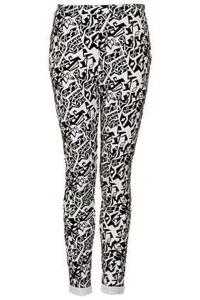 Tribal Shape Flocked Treggings - Topshop