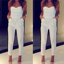 Sale Women Sexy V-neck Strapless Tight Waist Bodycon Jumpsuits White