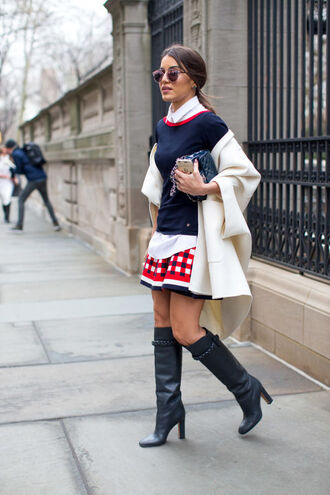 dress skirt blouse boots streetstyle ny fashion week 2016 fashion week 2016 sweater