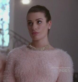 sweater blush pink hester urlich skirt fluffy scream queens lea michele jacquard mini skirt socks hester ulrich jewels