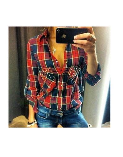 Red scottish pattern rivets cotton blouse shirt long sleeve blogger