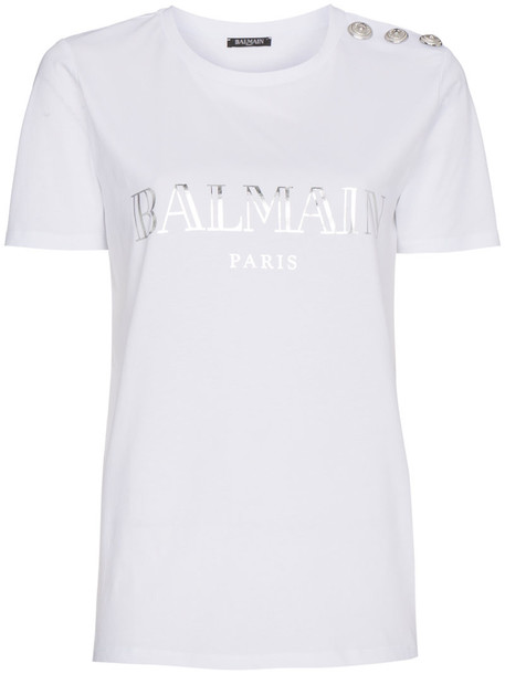 Balmain t-shirt shirt t-shirt women white cotton print top