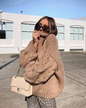 sweater,oversized sweater,high neck,knitted sweater,handbag,checkered pants,pants,sunglasses