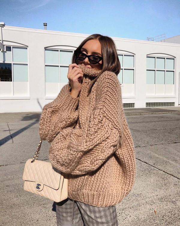 sweater oversized sweater high neck knitted sweater handbag checkered pants pants sunglasses