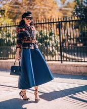 skirt,midi skirt,circle skirt,plaid blazer,belt,pumps,chanel bag,beret