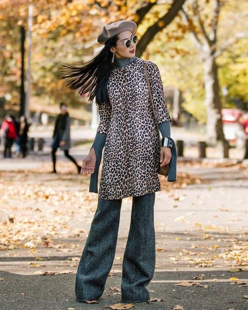 4f579390dd18a dress tumblr mini dress three-quarter sleeves leopard print animal print  dress over pants pants