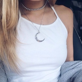 jewels chain choker necklace moon moon necklace crop tops white top hair accessory tank top necklace jewelry