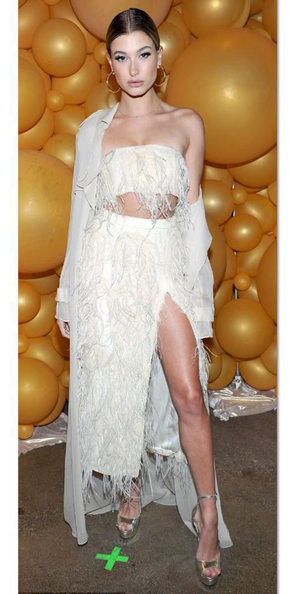skirt top bandeau sandals hailey baldwin slit skirt maxi skirt