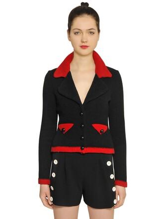 jacket knit wool black red