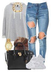 hoodie,grey,sweater,ripped jeans,handbag,huarache
