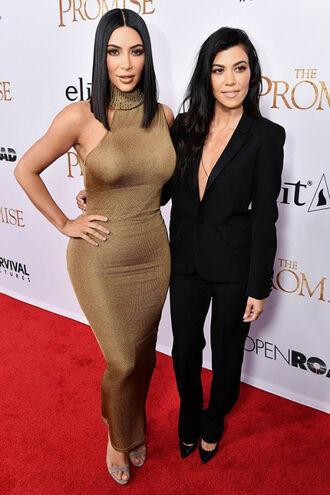 dress kim kardashian kourtney kardashian kardashians pants suit gold dress gold one shoulder